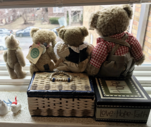 Teddy Bears in a window looking at the street